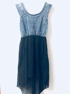 Denim and Black Fishtail Dress