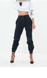 Missguided navy cargo pants