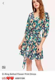 O-Ring Belted Flower Print Dress