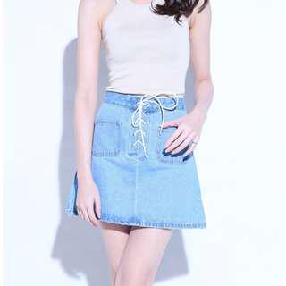 Shoelace Denim Skirt
