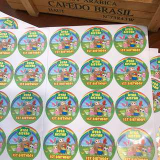 Didi and friends customised stickers labels for birthday party goodie bag