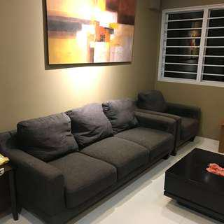 3 + 1 Seater Fabric Sofa