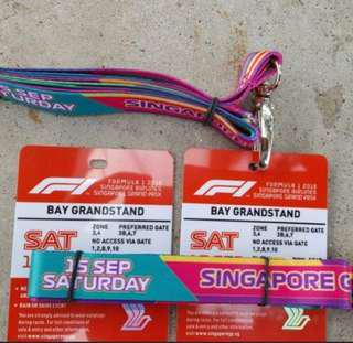 F1 Singapore Bay grandstand Saturday and friday ticket