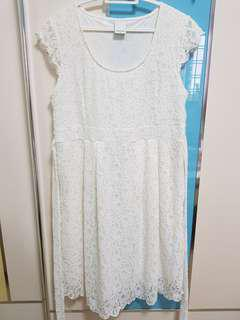 Mamalicious white lace maternity dress with back tie