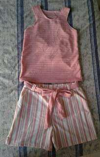 Peach  sleeveless top  and shorts / terno