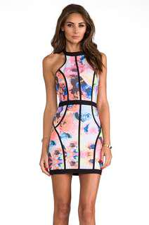 Finders Keepers Winter Birds Electric Rose Designer Halter Dress rrp$294