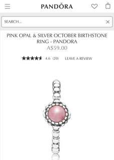 Pandora October Opal Birthstone Ring