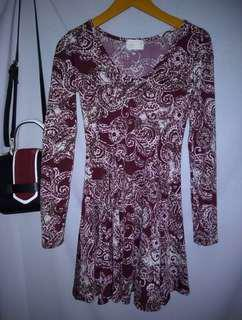 Bkk flare dress  like new ( printing dress / dress Cantik / dress import /
