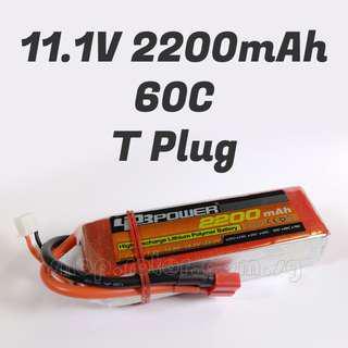 🚚 LPB 11.1V 2200mAh LiPo Battery, 3S, 60C, 3 cells, T Plug, ~107x33x25mm, ~185g. Code: LPB3S60C2200