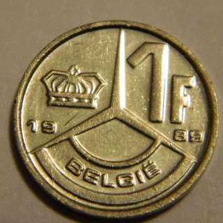 1989 Belgium 1 Franc Coin---Lot #3059