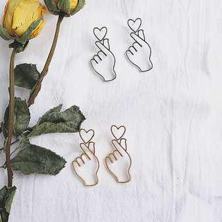 Korean Symbol Love Hand with Heart Shaped Love Gesture Earrings