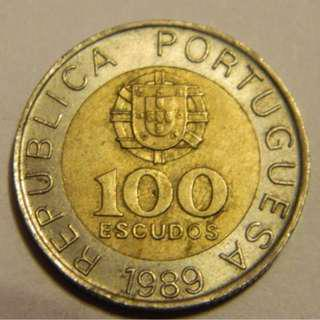1989 Portugal 100 Escudos Bi-Metallic Coin ---Lot #3405