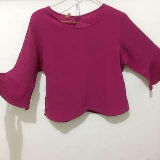 Fuchsia blouse/ pink top