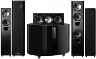 Kef Xq series complete front, middle and rear speakers and subwoofer