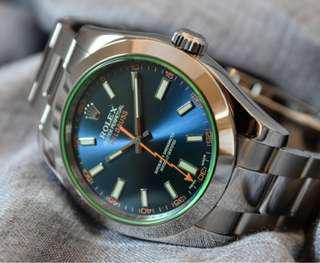 Rolex Milgauss 綠玻璃 放射藍面 116400GV
