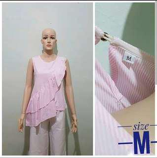 Bkk ruffle top ( blouse bkk / blouse cantik / blouse import / blouse pink / atasan import / top bkk / stripe blouse  )