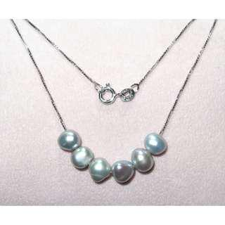Freshwater pearl S925 Italy silver necklace  天然珍珠S925純銀意大利頸鏈