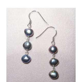 Freshwater pearl S925 silver earring 天然珍珠S925純銀耳環