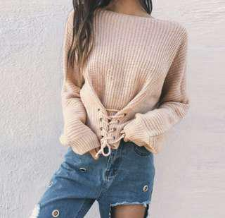 knitted crop lace up pullover