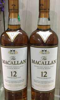 MACALLAN 雪梨桶12年威士忌700ml with box,香港行貨。每一支