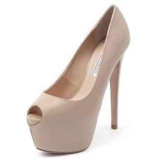 Tony Bianco Tuscan peep toe nude suede heels size 38