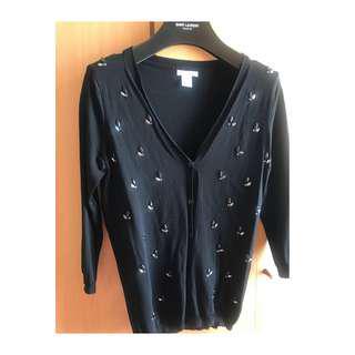 H M elegant crystal black v neck cardigan blouse top shop zara mango sandro maje club monaco new look max mara asos bcbg 外國高貴黑色v領中袖閃石針織外套 襯衫