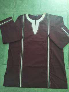 Baju Koko Merah Marun Lengan Panjang
