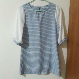 近全新/藍白細條紋拼接雪紡袖蝴蝶結洋裝