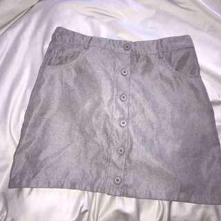 gray button up skirt