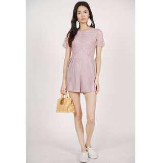 MDS pleated lace romper