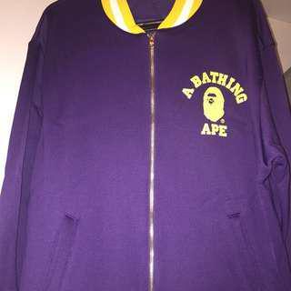 A Bathing Ape 紫色黃白邊棒球褸外套