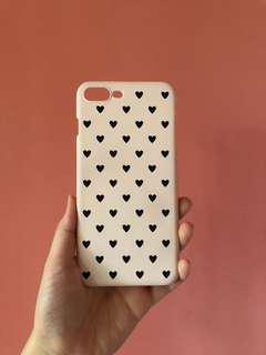 Preloved Blush Pink with Black Hearts iPhone 7/8 PLUS Snap Case