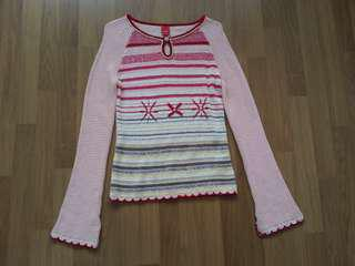 Esprit Pink Striped Knitted Sweater with flute sleeves
