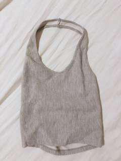 Grey halter neck crop top
