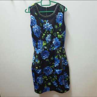 Floral Dress (Black & Blue)