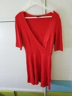 全新 紅色 v領 deep V 性感 裙 Topshop red dress