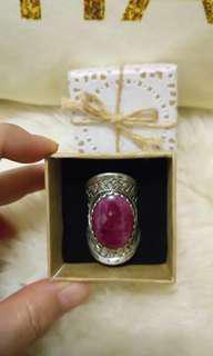 💯豪華霸氣款 天然紅寶石手工精製純銀戒 🍄重18.6g 近5錢重