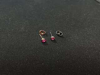 粉紅色閃石耳環 Pink gem earrings