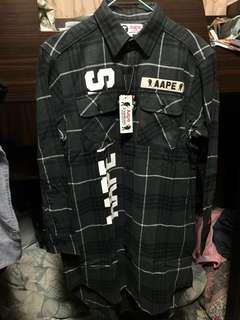 全新AAPE女裝格仔長袖恤衫(可當外套)