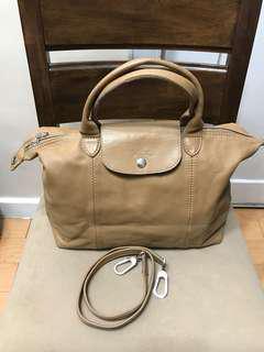 Authentic Longchamp Le Pliage Cuir Medium Leather Satchel Bag