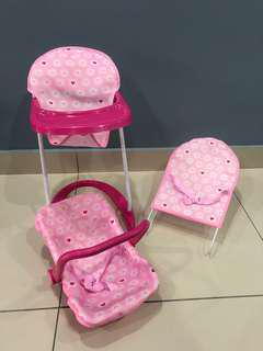 Doll Accessories (High Chair, Carseat & Bouncer)