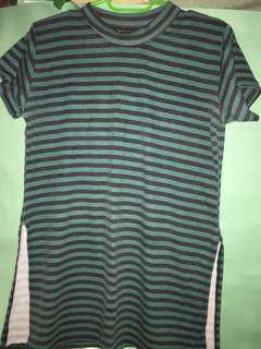 Stripes Shirt with Side Slit Green