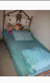 Jual tempat tidur anak, kasur plus bade cover bisa di rakit