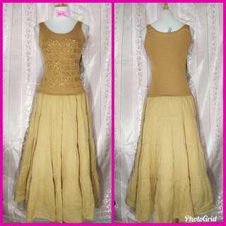 Yellow Maxi Layered Dress