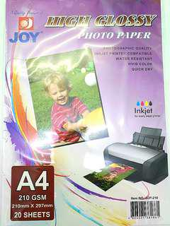 A4 High Glossy Photo Paper (19Sheets Only) LIKE NEW!