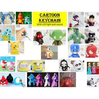 Cartoon Keychain with LED light and Sound. Avenger, Star Wars, Frozen, Pokemon, Hello Kitty