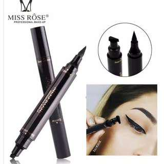 MISS ROSE Liquid Eyeliner Pencil Anti Air Dua Kepala Eyeliner Stamp 100% Original