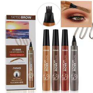 NOVO Eyebrow Pencil Anto Air Fork Tip Eyebrow Tatto Pen 4 Head Liquid Eyebrow Enhancer