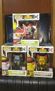[PRE-ORDER] Metallic Megazord, Green Dragonzord, Black & Gold Dragonzord Power Rangers Funko Pop Bundle