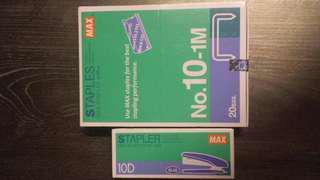 MAX 10號釘書針×20盒(1000枚/盒)+MAX HD-10D 標準型釘書機